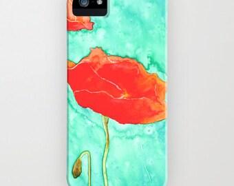 Floral Phone Case - Poppy Trio Painting - Designer iPhone Samsung Case