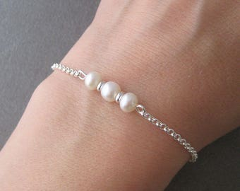 Bracelet three pearls and Silver 925/1000