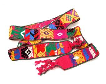 ViNTagE: 1970's - Boho Hipster Guatemala Woven Faja - 100% Cotton - Traditional Belt - Sash - Belt - SKU 21-A1-00010545