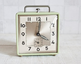 Vintage French SCOUT Mechanical Square Alarm Clock Almond Green || Retro/ Mid Century - Pastel Color Clock