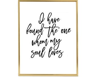 I have found the one whom my soul loves, Gold Foil Print, Wedding, Gift