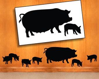 Farm Wall Decal - Mother & Baby Pigs Farm Animal Silhouettes, Barnyard Animals Vinyl Wall Decal, Country Decor, DIY Home Decor