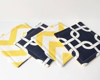Blue Coasters Nautical Fabric Reversible Coasters Fabric Coasters Cotton Set of 4 Modern Home Decor