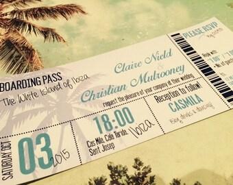 SAMPLE Destination Beach Holiday Abroad Boarding Pass Ticket Wedding Invitations!