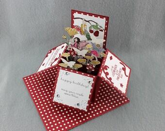 Fée d'anniversaire Pop Up carte - un d'une main de - carte - Fairy Garden dans une boîte genre fée estampillé carte d'anniversaire - carte de l'Explosion à la main