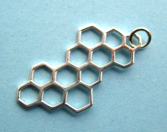 Sterling Silver Honeycomb Openwork Pendant Charm