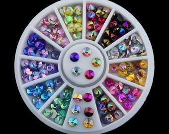 Colorful Rhinestones Nail Art Wheel, 3D Crystal Glitter Rhinestones Gems, DIY Nails Art Decorations