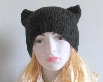 Hand Knit Cat Hat  Cat Beanie Women's Knit Hat  Knitted Cat Ear Hat  Cat Ear Beanie  Winter Fashion Accessories  Chunky Hat  Women Knit Hat