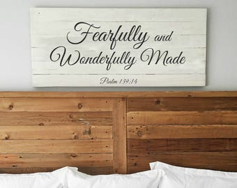 Fearfully and Wonderfully Made sign | Psalm 139:14 | Bedroom wall decor | Extra Large Wall Art | Girls Room | Sign for above bed | Scripture