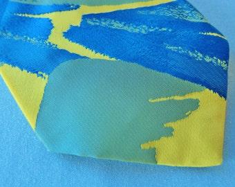 Wide tie 1970s Hardy Amies, designer tie, disco necktie, mens vintage fashion, 70s style, electric blue