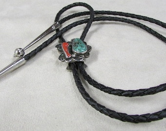 Coral and Turquoise Southwest Bolo Tie
