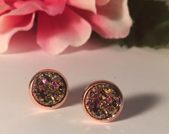 Iridescent Druzy Studs in Rosegold Setting