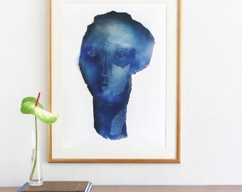 Large Blue Wall Art Print of Original Abstract Painting, Deep Blue and White Art Work