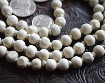 Calming Om Holy Basil Tulsi Hand Knotted Japa Mala 8mm 108 Prayer Beads Necklace - Nirvana Meditation Rosary For Awakeni