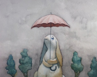 Scattered Showers - Cute little bunny with an umbrella on a rainy day-  8 x 10 art print of a watercolor painting