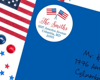 4th of July Address Labels / American Flag Address Labels - Sheet of 24