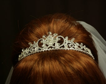 Wedding Tiara - Rhinestone Tiara - Natalia Bridal Tiara with Rhinestones - Bridal Hair - Wedding Hair Jewelry - Crystal Tiara - Floral Tiara