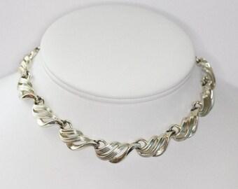 Coro Swirled Design Choker Necklace Gold Tone Coro Signed Vintage Designer Jewelry