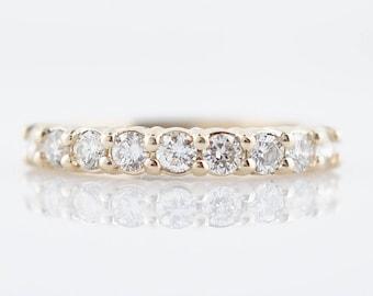 Wedding Band Modern .81 Round Brilliant Cut Diamonds in 14K Yellow Gold