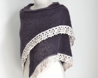 Knitted shawl, plum, purple shawl,  P456