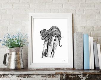 Hand-drawn Chameleon Print. (Limited Edition)