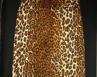 Leopard Skirt Size 13/14 Leopard Pencil Skirt Short Mini Skirt Leopard Faux Fur Anmal Print Cotu J Inc Faux Fur Cheetah Skirt Womans Vintage