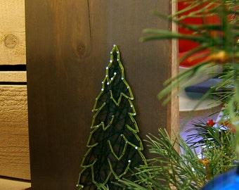 Winter Evergreen - Holiday Decoration - Modern String Art Tablet