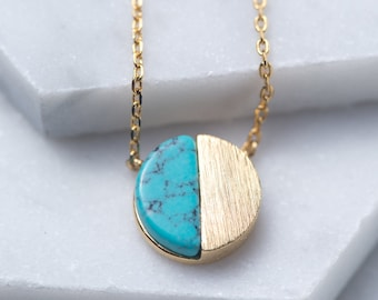 Turquoise necklace, Gold Layering Necklace, Gold Pendant necklace, Boho Necklace, Beach Summer, Minimal Necklace, Circle Necklace, N345-TQ