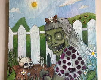"Original Art ""Ghoul Girl"" Acrylic Painting on Plywood"