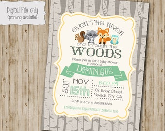 Woodland baby shower invitation, woodland fox baby, Digital, girl, boy, owl, raccoon, squirrel, Printable file gender neutral