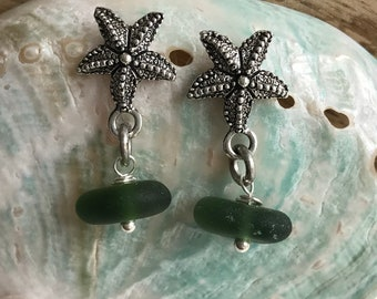 starfish and sea glass earrings, Atlantic sea glass earrings, beach wedding, starfish earrings, beach wedding, bridal gift