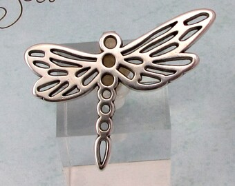 Dragonfly Pendant, Antique Silver, 2 Pieces, AS406