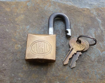 Vintage Brass and Steel Corbin Cabinet Lock Co Padlock & Original Key + Plus Key