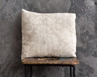 Linen floral pillow sham- vintage look washed taupe linen cushion- natural linen pillow- decorative pillow- linen bedding