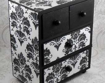 Custom Black and White Damask Stash Jewelry Box