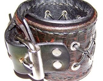 Item 011711 Reptile Skinned Leather Wrist Cuff