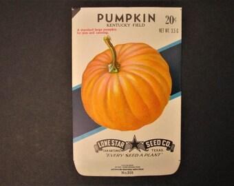 Vintage Seed Packet, Pumpkin Seed Envelope, Paper Ephemera