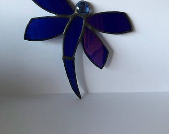 Beautiful Blue Stained Glass Dragonfly