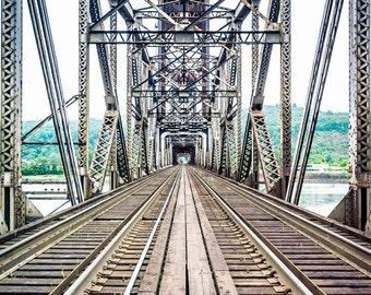Over the Willamette- Portland Railroad Bridge Photographic Print