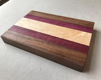 Mini Hardwood Cutting Board: Maple, Purpleheart, & Walnut