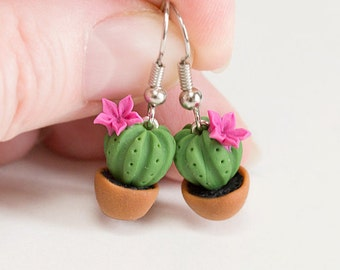Green Cactuses earrings. Polymer clay earrings. Dangle earrings. Polymer clay jewelry. Succulent earrings. Miniature Potted Plant Earrings.