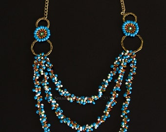 Bronze Chain Necklace with Layered Crocheted Ropes in Turquoise, Green, Red, White, Topaz, and with Bronze Hoops and Beaded Rosettes S171
