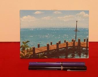 5x7 Orginal Acrylic Canvas Painting, Cozumel Beach