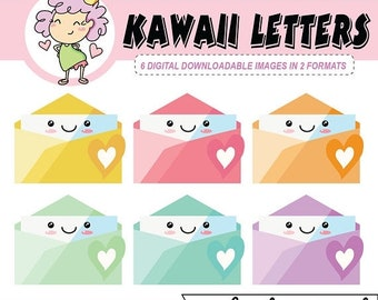 50%off Kawaii Letters, DIGITAL DOWNLOAD, Letters Clipart, Clip Art Mail, for Goodnotes planning or digital planning, kawaii clip art
