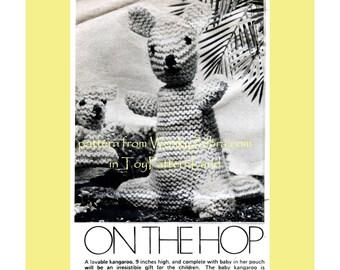 Vintage Kangaroo Hop Toy Knitting Knit Knitted Pattern PDF 560 from WonkyZebra