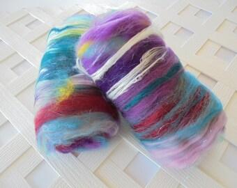BOUQUET Art Batts, Luxury Spinning Batts, Carded Batts for Spinning, Batts for Felting, Soft Merino Art Batts, Silk Art Batts, Alpaca Fiber