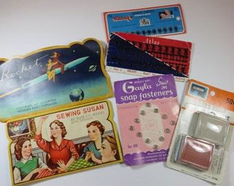 SJK Vintage -- Mid Century Sewing Notions, Rocket Needles, Sewing Susan, Hooks, Snaps, Chalk (1950's-60's)