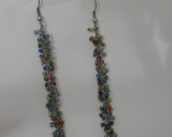 SALE Fun Rainbow Colored Beaded Earrings on Sterling Silver  Chain