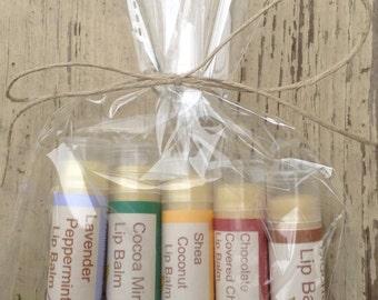 5 pack gift set of 100% natural lip balm