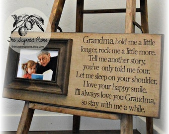 Mothers Day Gift, Grandma Gift, Grandparents Gifts, Grandma Frame, Picture Frame, Hold Me A Little Longer, 8x20 The Sugared Plums Frames